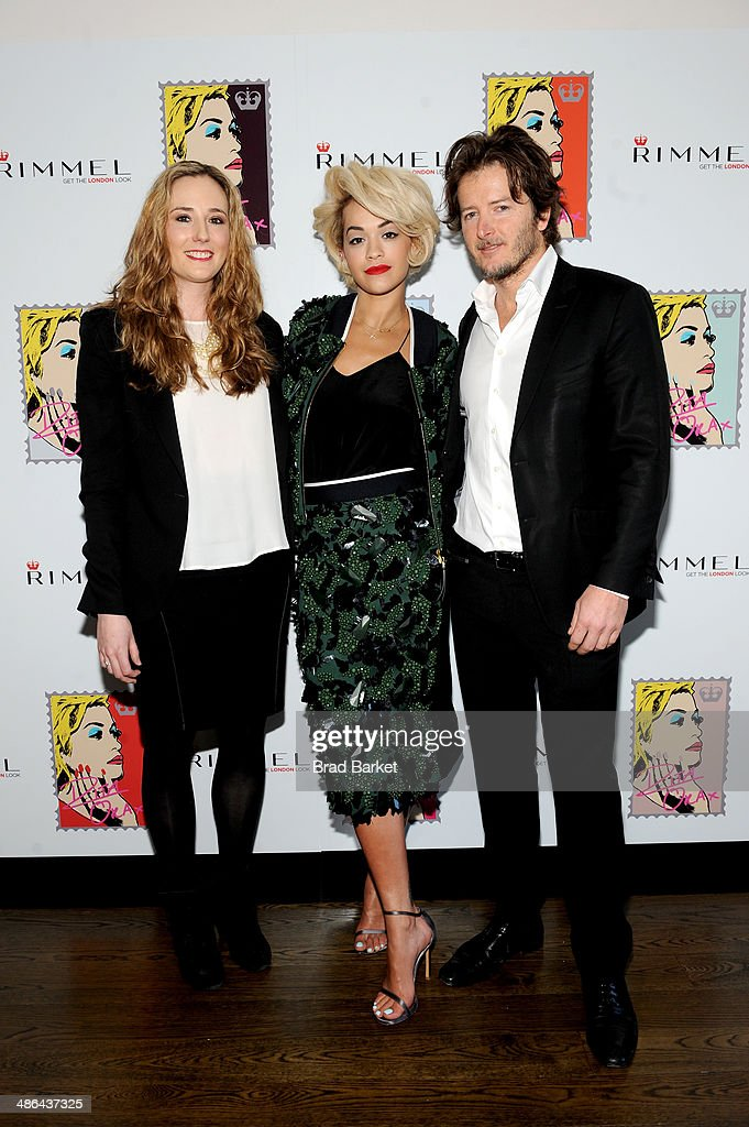 Jennifer Lasko (L) and David Cole (R) attend the Rimmel London press preview with Rita Ora (C) at The Mercer Hotel on April 24, 2014 in New York City.