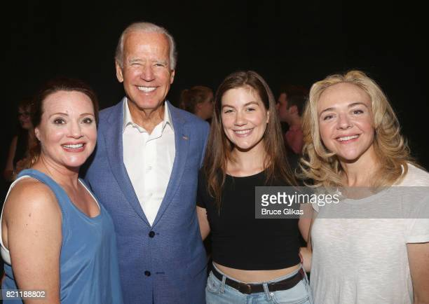 Jennifer Laura Thompson 47th Vice President of the United States Joseph Biden Laura Dreyfuss and Tony Winner Rachel Bay Jones pose backstage at the...