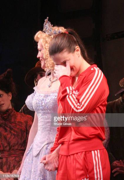 Jennifer Laura Thompson and Idina Menzel during Idina Menzel's Final Performance In 'Wicked' After Injury During The Show at The Gershwin Theater in...