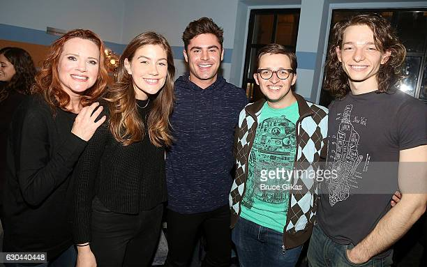 """Jennifer Laura Thompson, Laura Dreyfus, Zac Efron, Will Roland and Mike Faist pose backstage at the hit musical """"Dear Evan Hansen"""" on Broadway at The..."""