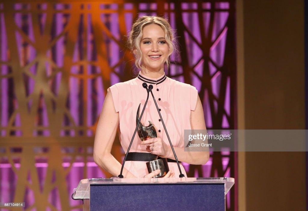 Jennifer Lawrence accepts award onstage at The Hollywood Reporter's 2017 Women In Entertainment Breakfast at Milk Studios on December 6, 2017 in Los Angeles, California.