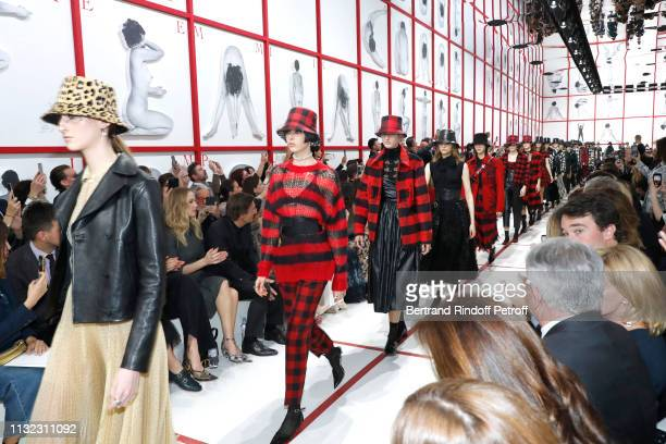 Jennifer Lawrence and CEO of Dior Pietro Beccari attend the Christian Dior show as part of the Paris Fashion Week Womenswear Fall/Winter 2019/2020 on...