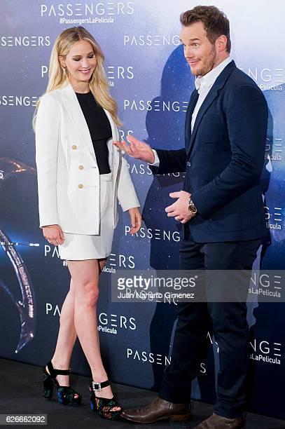 Jennifer Lawrence and Chris Pratt attend 'Passengers' photocall at Villa Magna Hotel on November 30, 2016 in Madrid, Spain.