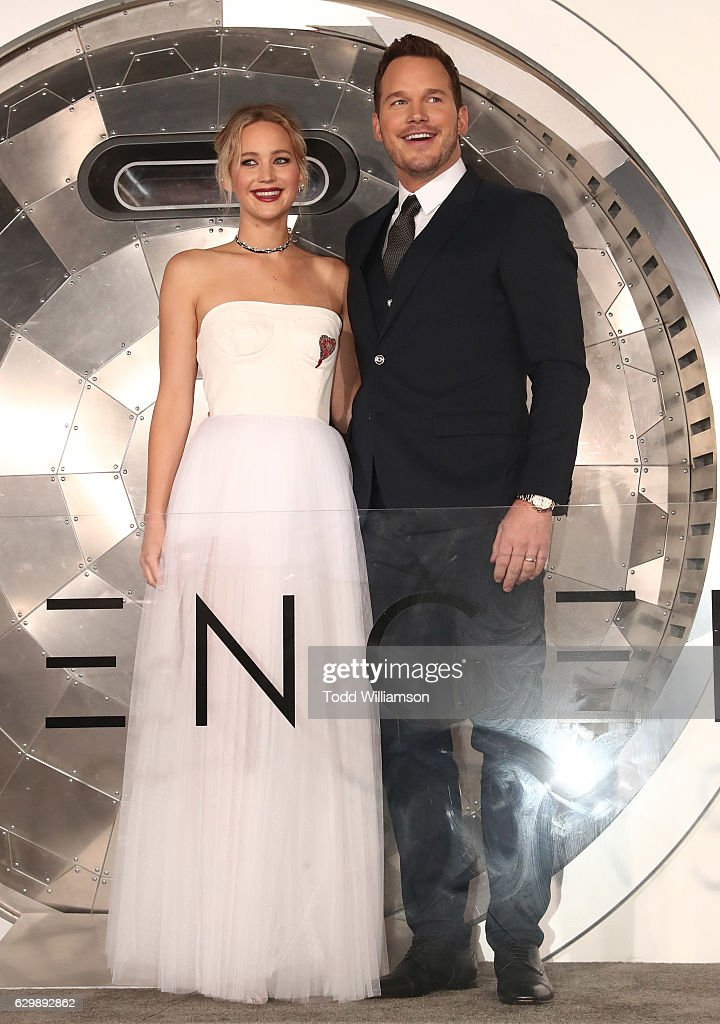Jennifer Lawrence and Chris Pratt attend the premiere of Columbia Pictures' 'Passengers' at Regency Village Theatre on December 14, 2016 in Westwood, California.