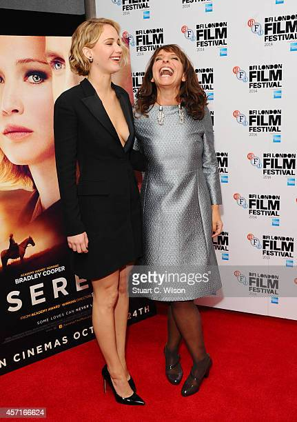 Jennifer Lawrence and director Susanne Bier attend the premiere for 'Serena' during the 58th BFI London Film Festival at Vue West End on October 13...