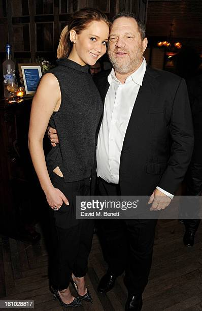 Jennifer Lawrence and Harvey Weinstein attend the 'Silver Linings Playbook' Grey Goose Dinner hosted by Harvey Weinstein and Stephen Fry at Little...
