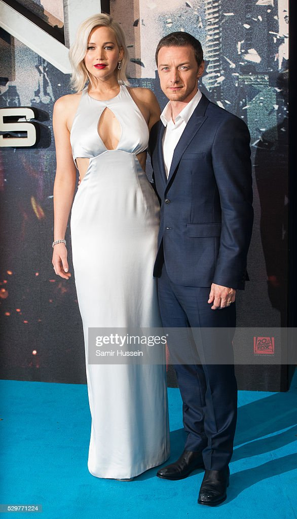 Jennifer Lawrence and James McAvoy attend a Global Fan Screening of 'X-Men Apocalypse' at BFI IMAX on May 9, 2016 in London, England.