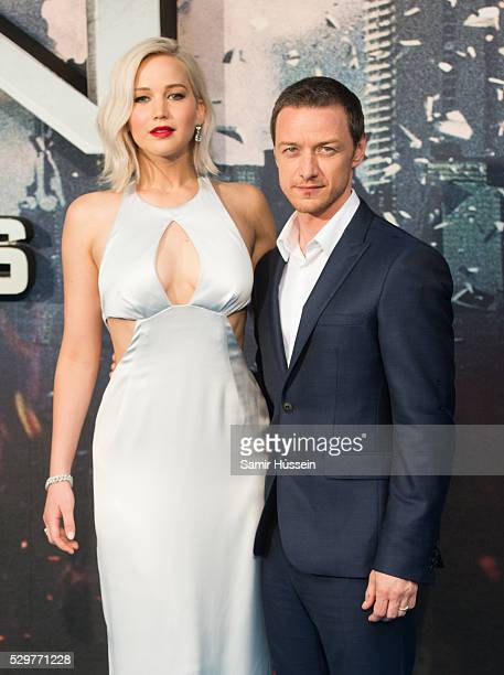 Jennifer Lawrence and James McAvoy attend a Global Fan Screening of XMen Apocalypse at BFI IMAX on May 9 2016 in London England