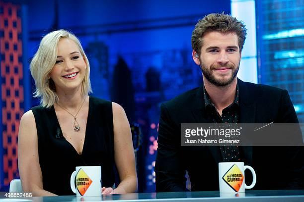 Jennifer Lawrence and Liam Hemsworth attend 'El Hormiguero' Tv show at Vertice Studio on November 26 2015 in Madrid Spain