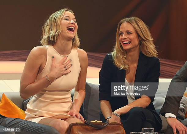 Jennifer Lawrence and Mirjam Weichselbraun attend Wetten, dass..? from Graz on November 08, 2014 in Graz, Austria.