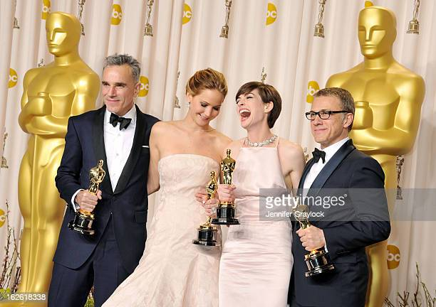 Jennifer Lawrence, Anne Hathaway, Daniel Day-Lewis and Christoph Waltz in the press room during the 85th Annual Academy Awards held at the Loews...