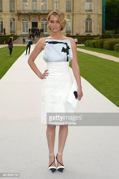 Jennifer Lawrence arrives at Christian Dior show as part of Paris Fashion Week Haute Couture Fall/Winter 20142015 on July 7 2014 in Paris France