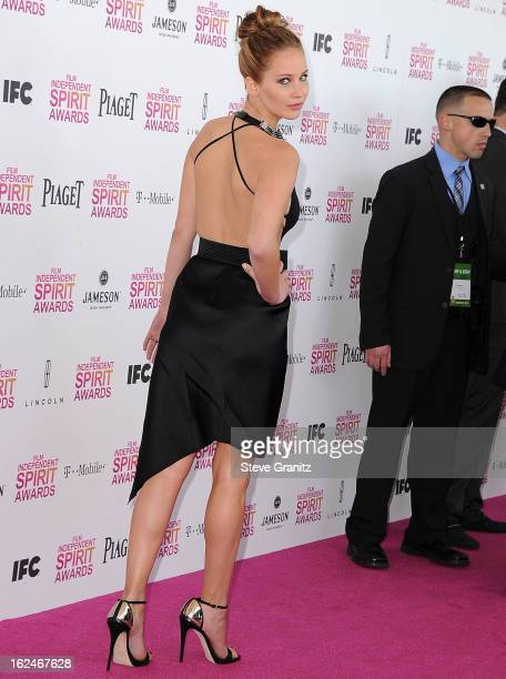 Jennifer Lawrence arrives at the 2013 Film Independent Spirit Awards on February 23 2013 in Santa Monica California