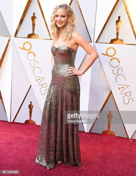 Jennifer Lawrence arrives at the 90th Annual Academy Awards at Hollywood Highland Center on March 4 2018 in Hollywood California
