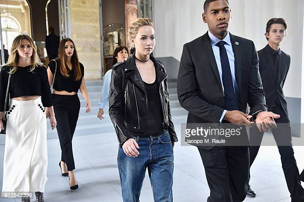 Jennifer Lawrence arrives at the Christian Dior show as part of the Paris Fashion Week Womenswear Spring/Summer 2017 on September 30 2016 in Paris...