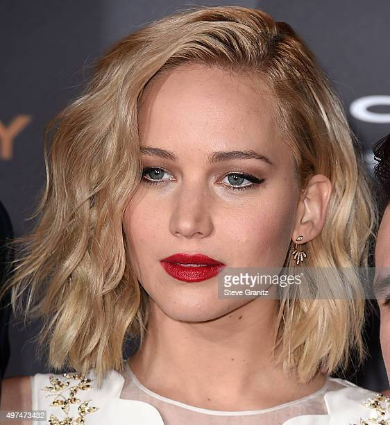 Jennifer Lawrence arrives at the Premiere Of Lionsgate's The Hunger Games Mockingjay Part 2 at Microsoft Theater on November 16 2015 in Los Angeles...