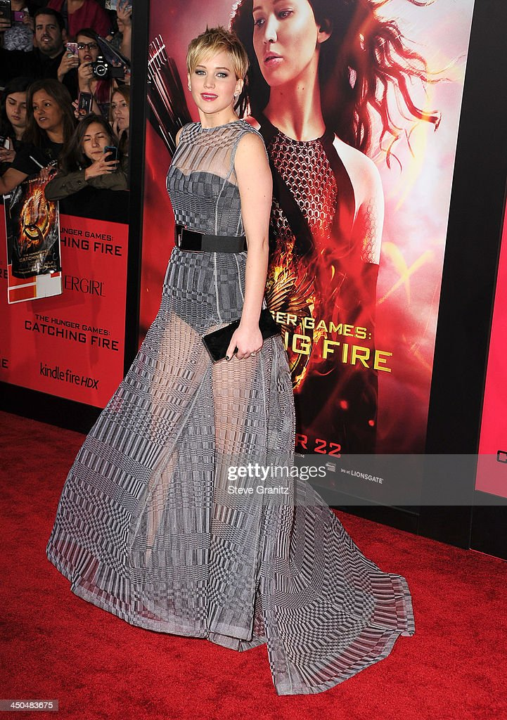 Jennifer Lawrence arrives at the 'The Hunger Games: Catching Fire' - Los Angeles Premiere at Nokia Theatre L.A. Live on November 18, 2013 in Los Angeles, California.