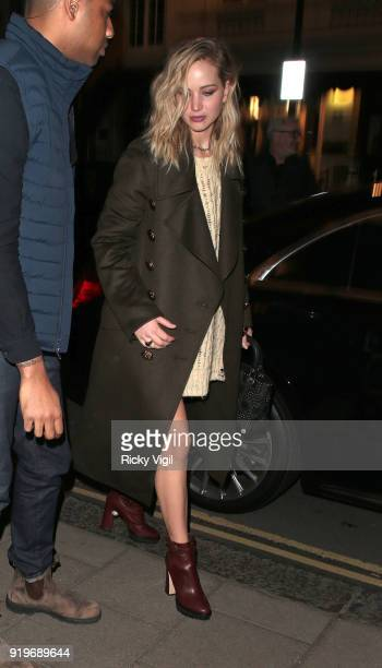 Jennifer Lawrence arrives back at her hotel after a night out at Chiltern Firehouse on February 17 2018 in London England