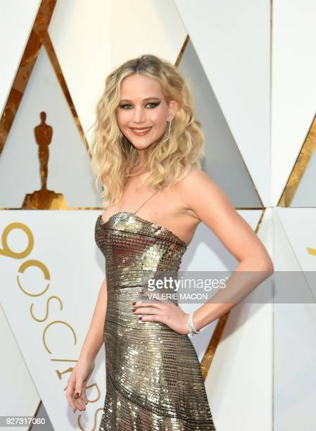Jennifer Lawrence arrives for the 90th Annual Academy Awards on March 4 in Hollywood California / AFP PHOTO / VALERIE MACON