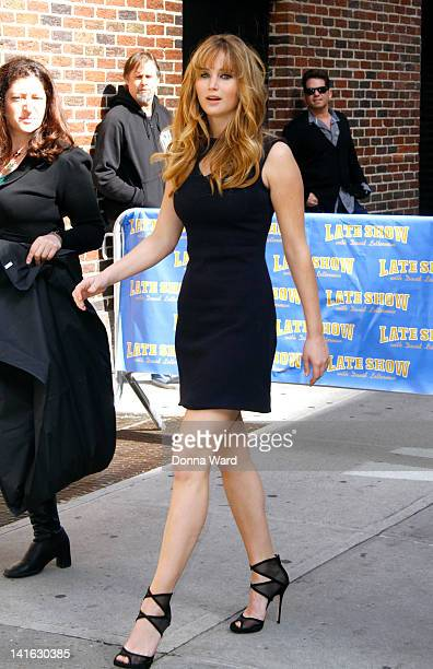"""Jennifer Lawrence arrives for """"The Late Show with David Letterman"""" at Ed Sullivan Theater on March 20, 2012 in New York City."""