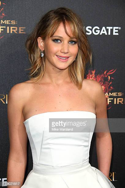 Jennifer lawrence bangs stock photos and pictures getty images jennifer lawrence attends a party for the hunger games catching fire at the 66th voltagebd Image collections