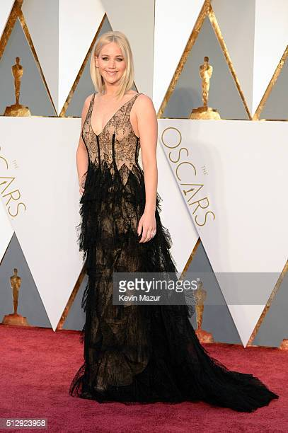 Jennifer Lawrence attends the 88th Annual Academy Awards at Hollywood Highland Center on February 28 2016 in Hollywood California