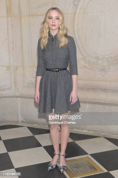 Jennifer Lawrence attends the Christian Dior show as part of the Paris Fashion Week Womenswear Fall/Winter 2019/2020 on February 26, 2019 in Paris,...
