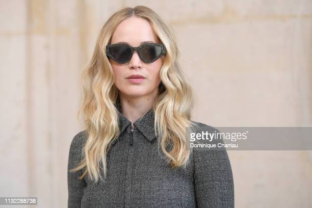 Jennifer Lawrence attends the Christian Dior show as part of the Paris Fashion Week Womenswear Fall/Winter 2019/2020 on February 26 2019 in Paris...