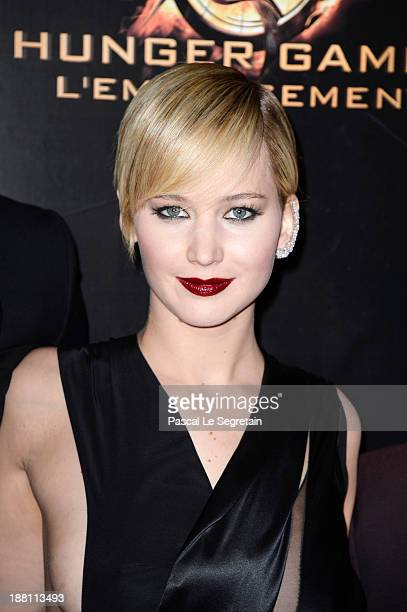 Jennifer Lawrence attends 'The Hunger Games Catching Fire' Paris Premiere at Le Grand Rex on November 15 2013 in Paris France