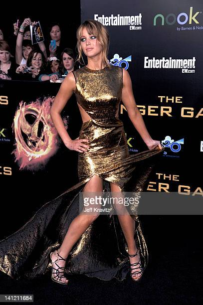 Jennifer Lawrence attends The Hunger Games Los Angeles Premiere on March 12 2012 in Los Angeles California