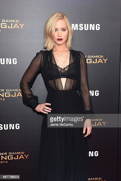 Jennifer Lawrence attends The Hunger Games Mockingjay Part 2 New York Premiere at AMC Loews Lincoln Square 13 theater on November 18 2015 in New York...