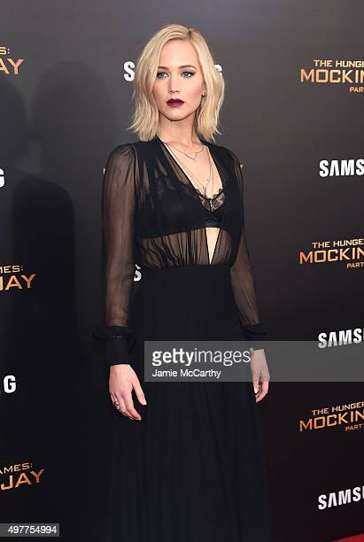"""Jennifer Lawrence attends """"The Hunger Games: Mockingjay- Part 2"""" New York Premiere at AMC Loews Lincoln Square 13 theater on November 18, 2015 in New..."""