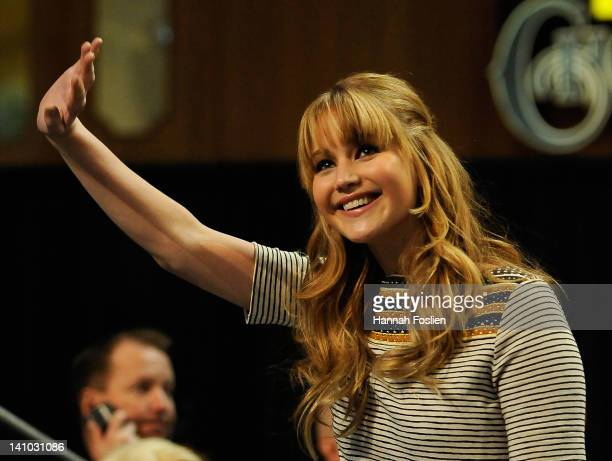Jennifer Lawrence attends The Hunger Games National Mall Tour fan event at the Mall of America on March 9 2012 in Bloomington Minnesota