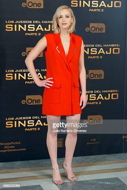 Jennifer Lawrence attends 'The Hunger Games: Sinsajo - Part 2' photocall at Villa Magna Hotel on November 10, 2015 in Madrid, Spain.