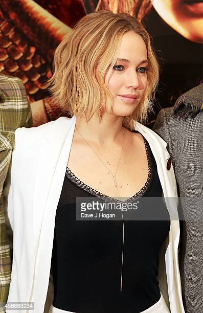 Jennifer Lawrence attends the photocall for The Hunger Games Mockingjay Part 1 at Corinthia Hotel London on November 9 2014 in London England