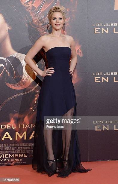 Jennifer Lawrence attends the premiere of 'The Hunger Games: Catching Fire' at Callao cinema on November 13, 2013 in Madrid, Spain.
