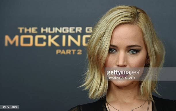 Jennifer Lawrence attends the premiere of The Hunger Games Mockingjay Part 2 at the AMC Loews Lincoln Square 13 in New York November 18 2015 AFP...
