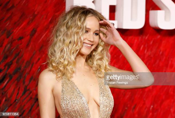 "Jennifer Lawrence attends the ""Red Sparrow"" European premiere at the Vue West End on February 19, 2018 in London, England."