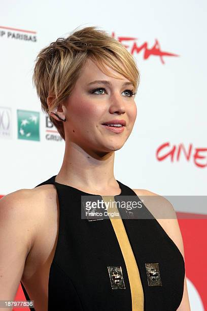 Jennifer Lawrence attends the 'The Hunger Games Catching Fire' Photocall during the 8th Rome Film Festival at the Auditorium Parco Della Musica on...
