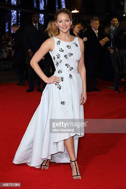 Jennifer Lawrence attends the World Premiere of The Hunger Games Mockingjay Part 1 at Odeon Leicester Square on November 10 2014 in London England
