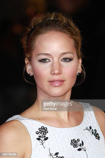 """Jennifer Lawrence attends the world premiere of """" The Hunger Games: Mockingjay Part 1"""" on November 30, 2014 in London, England."""