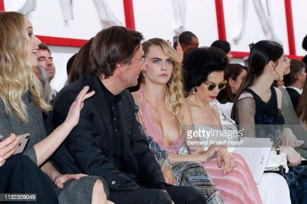 Jennifer Lawrence CEO of Dior Pietro Beccari Cara Delevingne and Bianca Jagger attend the Christian Dior show as part of the Paris Fashion Week...