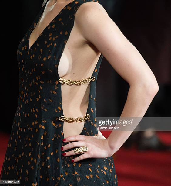 Jennifer Lawrence dress detail attends The Hunger Games Mockingjay Part 2 UK Premiere at Odeon Leicester Square on November 5 2015 in London England