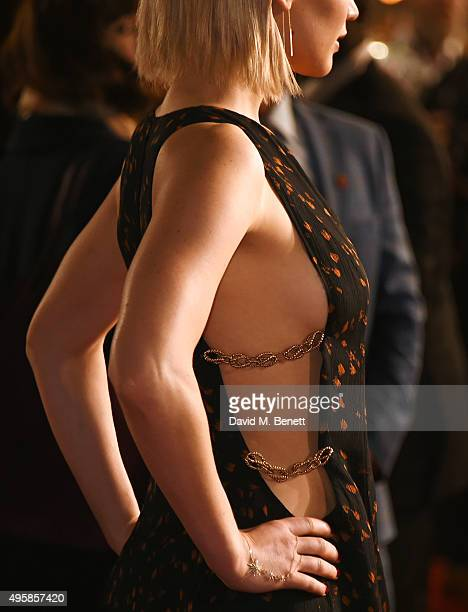 Jennifer Lawrence dress detail attends the UK Premiere of The Hunger Games Mockingjay Part 2 at Odeon Leicester Square on November 5 2015 in London...