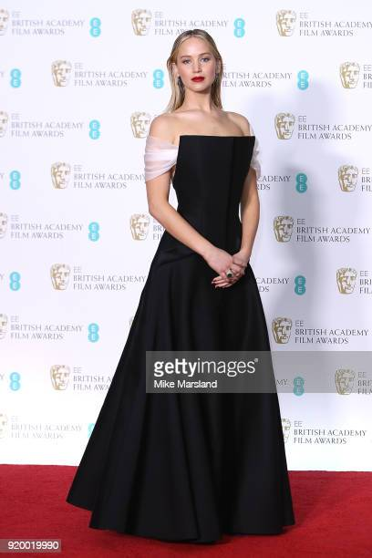 Jennifer Lawrence in the press room during the EE British Academy Film Awards held at Royal Albert Hall on February 18 2018 in London England
