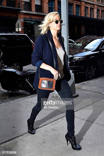 Jennifer Lawrence is seen in Tribeca on March 25 2016 in New York City
