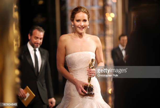 Jennifer Lawrence onstage after winning the award for Actress in a Leading Role during the Oscars held at the Dolby Theatre on February 24 2013 in...