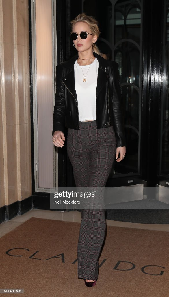 Jennifer Lawrence seen leaving Claridges Hotel on February 21, 2018 in London, England.