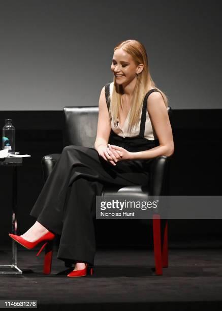 Jennifer Lawrence speaks at the Tribeca Talks - Director Series - David O. Russell with Jennifer Lawrence at the 2019 Tribeca Film Festival at BMCC...