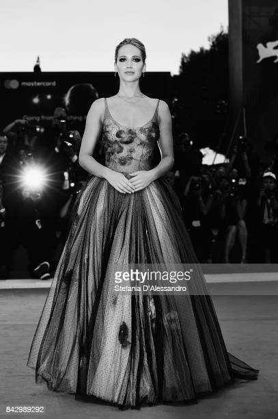 This image has been converted in black and white Jennifer Lawrence walks the red carpet ahead of the 'mother' screening during the 74th Venice Film...